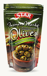 Spanish Manzanilla Pitted Olives Seasoned with Basil - Buy Now