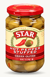 Hot Pepper Stuffed Green Olives - Buy Now